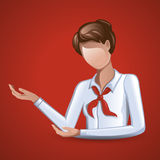 Woman in a white blouse with a red tie. The illustration shows a woman with brown hair. She is dressed in a white blouse and red tie. She points to the left with Stock Image