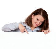 Woman with white board Royalty Free Stock Photos