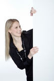 Woman and white board Stock Photography