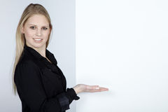 Woman and white board Stock Photo