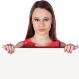 Woman with white board Royalty Free Stock Images