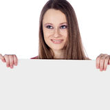 Woman with white board Royalty Free Stock Photo