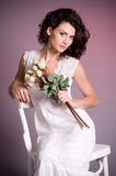 Woman in white bridal dress Royalty Free Stock Photography