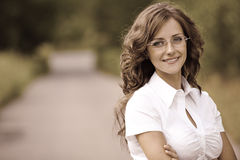 Woman in white business suit Royalty Free Stock Photo