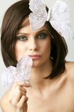 Woman with a white butterfly Royalty Free Stock Images