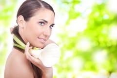 Woman with a white calla Stock Photos