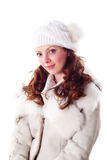 Woman in white cap and coat stock images