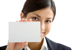 Woman with white card. Woman showing white a card Stock Photography
