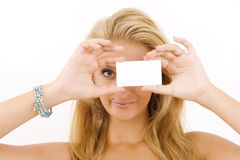 Woman with white cardboard Stock Photo