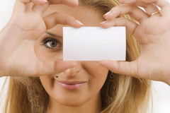 Woman with white cardboard Royalty Free Stock Photography