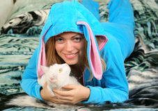 Woman with white cat Stock Photo