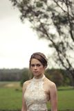 Woman in White Chiffon Floral Dress Starring Royalty Free Stock Photography