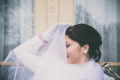 Woman with white cloth Stock Photos