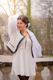 Woman with white cloth. Young beauty woman with cloth in the wind Royalty Free Stock Photos
