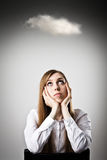 Woman in white and cloud. Royalty Free Stock Photos