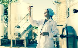 Woman in a white coat on the winery. Of spain stock photos