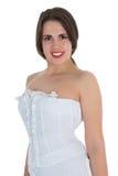 Woman in white corset Royalty Free Stock Photos