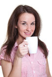 Woman with a white cup Stock Image