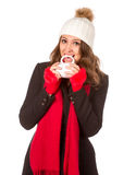 Woman with white cup Royalty Free Stock Photography
