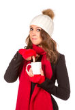 Woman with white cup Royalty Free Stock Image