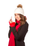 Woman with white cup Stock Image