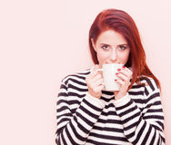 Woman with white cup Stock Photography