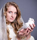 Woman with white dove Royalty Free Stock Image