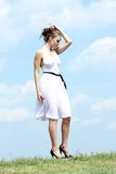 Woman in white dress Stock Photos