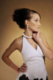 The woman in white dress. The attractive woman in black and white dress Royalty Free Stock Image