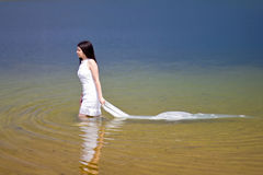 Woman in white dress Stock Photography