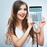 woman white dress hold count machine. Isolated fe Royalty Free Stock Photos