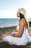 Woman in white dress near the seaside Royalty Free Stock Images