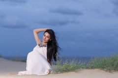 Woman with a white dress outdoors Royalty Free Stock Photography