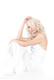 Woman White Dress Over White Background Royalty Free Stock Photography