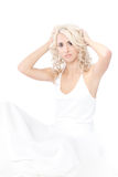 Woman White Dress Over White Background Stock Image