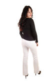 Woman in white dress pants. Stock Photo