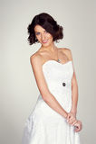 Woman in white dress posing Stock Photo