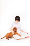 Woman in white dress with Puppy Stock Photo
