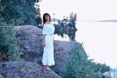 Woman in a white dress Royalty Free Stock Photography