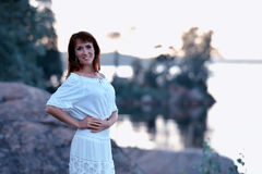 Woman in a white dress Royalty Free Stock Images