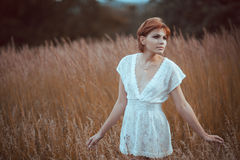 The woman in a white dress stays in the field Stock Photos