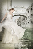 Woman in white dress, in Venice, Italy Royalty Free Stock Photos