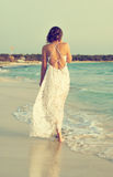 Woman in white dress. Stock Image