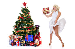 Woman white dress Xmas Royalty Free Stock Photography