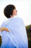 Woman in white fabrics outdoor Royalty Free Stock Images