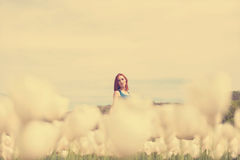 Woman in white flower field Royalty Free Stock Images