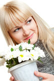 Woman with white flowers Royalty Free Stock Photos