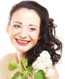 Woman with white flowers Royalty Free Stock Image