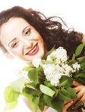 Woman with white flowers Royalty Free Stock Photo