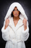 Woman in white fur coat Stock Photos